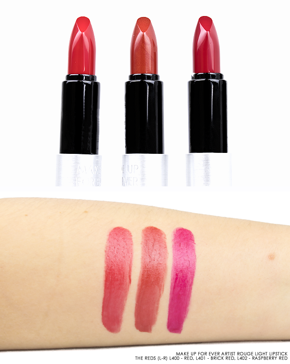 MAKE UP FOR EVER Artist Rouge Light Lipstick The Reds (L-R) L400 - Red, L401 - Brick Red and L402 - Raspberry Red