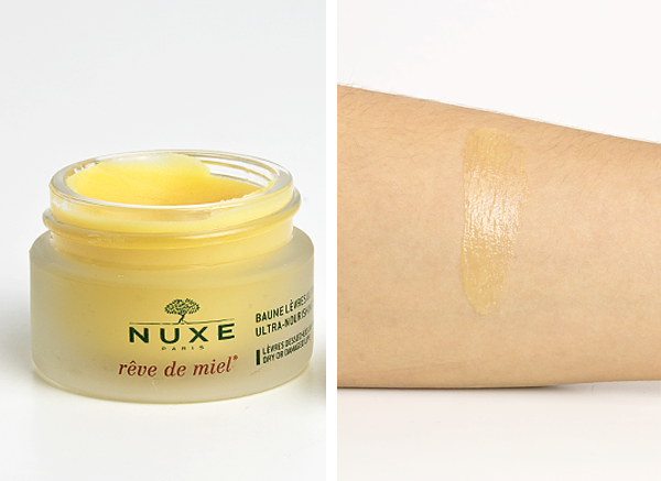 Nuxe Reve de Miel Lip Balm Product Shot and Texture Swatch