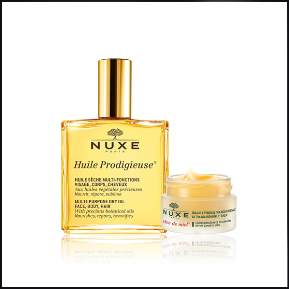 Nuxe Huile Prodigieuse 100ml & Reve de Miel Ultra-Nourishing Lip Balm 15g Duo - Escentual Black Friday Skincare Offer