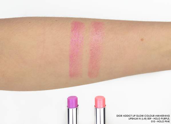 DIOR-Addict-Lip-Glow-Colour-Awakening-Lipbalm-Swatches-in-shades-090-Holo-Purple-and-010-Holo-Pink