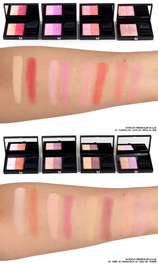 GIVENCHY-Prisme-Blush-Swatches-in-01-Passion-02-Love-03-Spice-04-Rite-05-Spirit-06-Romantica-07-Wild-08-Tender