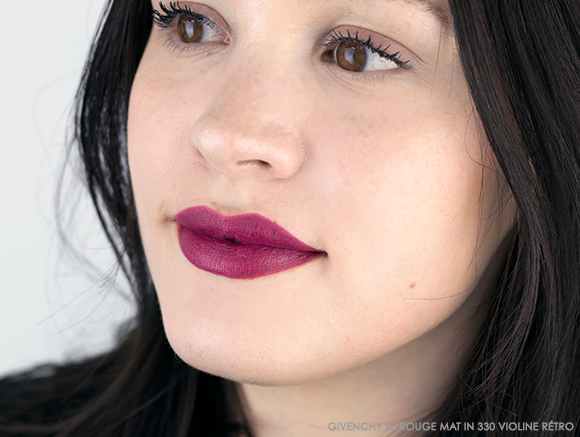 GIVENCHY Le Rouge Mat Lipstick Swatches - 330 Violine Retro - Escentual Beauty Buzz