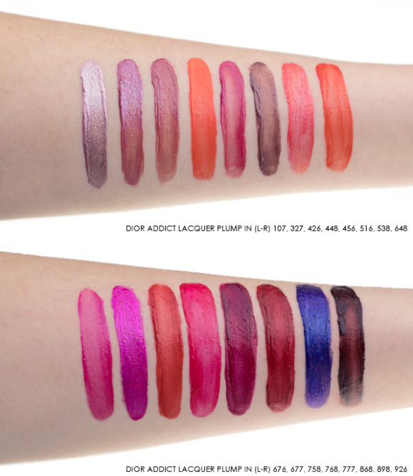 Dior Addict Lacquer Plump Swatches in 107 - 327 - 426 - 448 - 456 - 516 - 538 - 648 - 676 - 677 - 758 - 768 - 777 - 868 - 898 - 926