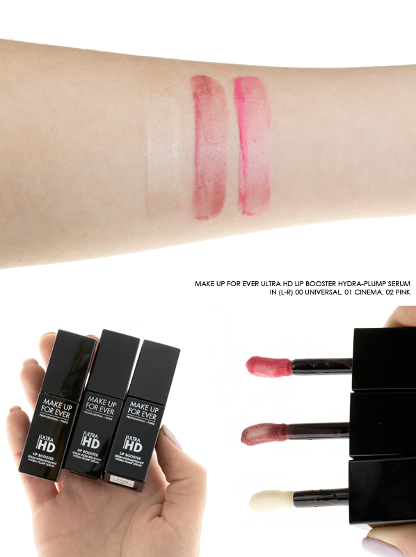 MAKE UP FOR EVER Ultra HD Lip Booster Hydra-Plump Serum Swatches