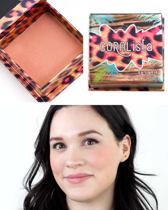 Benefit Box O Powder Blusher Bronzer Highlighter Coralista Swatch