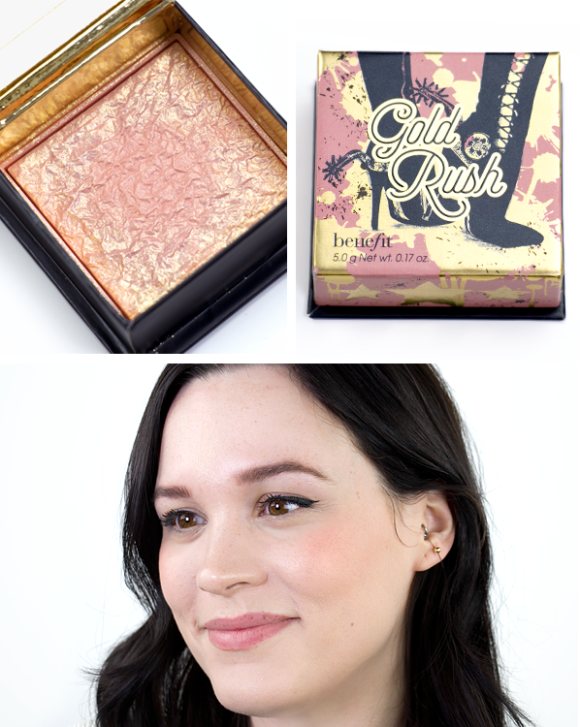 Benefit Box O Powder Blusher Bronzer Highlighter Gold Rush Swatch