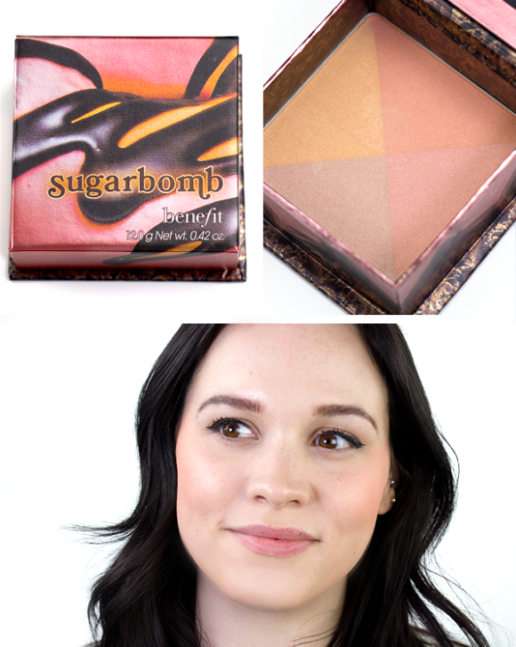 Benefit Box O Powder Blusher Bronzer Highlighter Sugarbomb Swatch