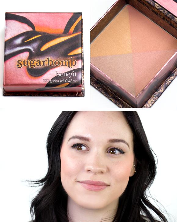 Benefit Box O Powder Blusher Bronzer Highlighter Sugarbomb Swatch