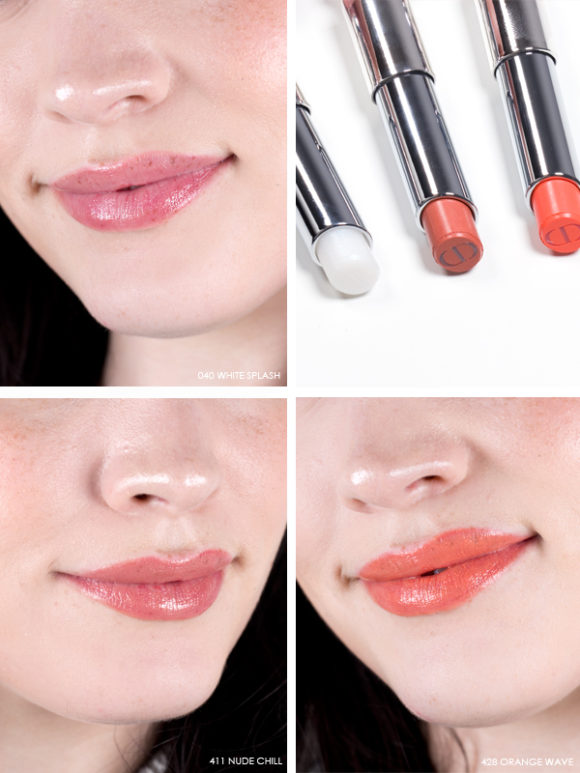 Dior Cool Wave Swatches Review Dior Addict Lipstick 040 White Splash 411 Nude Chill 438 Orange Wave worn on lips