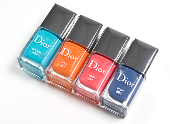 Dior Cool Wave Swatches Review Dior Vernis in 404 Splash 431 Pow 541 Wizz 894 Blop nail colour