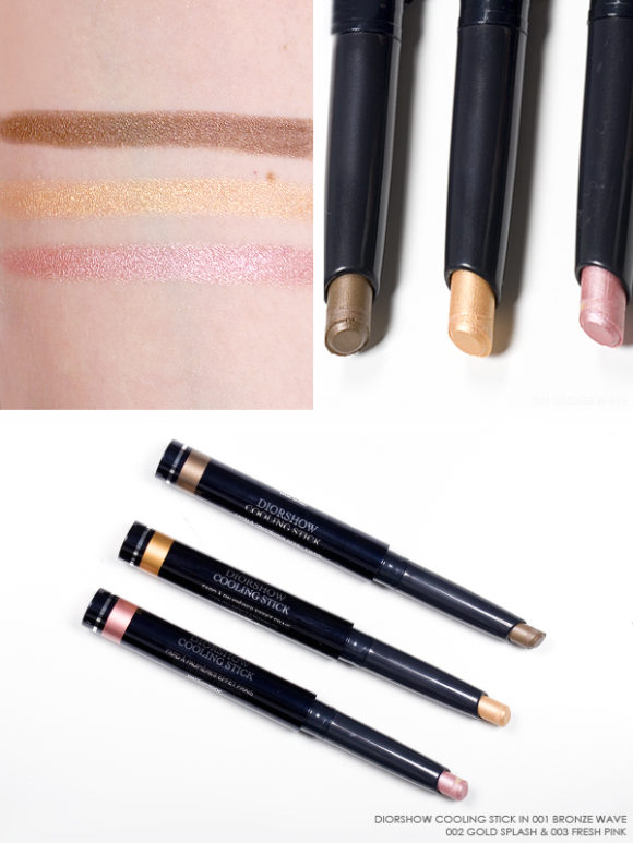 Dior Cool Wave Swatches Review Diorshow Cooling Stick Eyeshadow Stick 001 Bronze Wave 002 Gold Splash 003 Fresh Pink