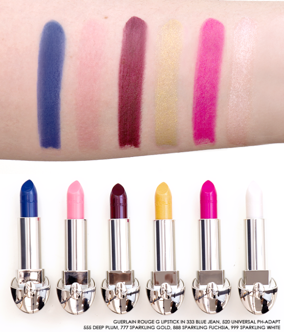 Guerlain Rouge G Lipstick swatches blue ph adapt sparkling gold white limited edition