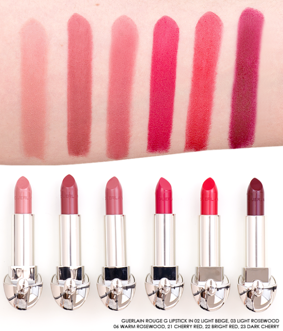Guerlain Rouge G Lipstick swatches nude reds