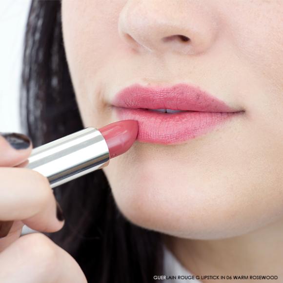 Guerlain Rouge G Lipstick swatch 06 warm rosewood