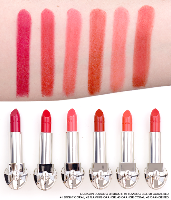 Guerlain Rouge G Lipstick swatches orange coral red