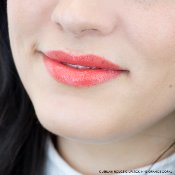 Guerlain Rouge G Lipstick swatch 43 orange coral