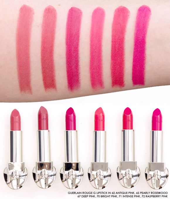 Guerlain Rouge G Lipstick swatches pinks rosewood fuchsia