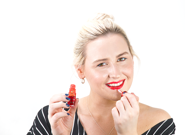 Blog Size Chels-Wearing-Clarins-Water-Lip-Stain-In-03-Red-Water-2
