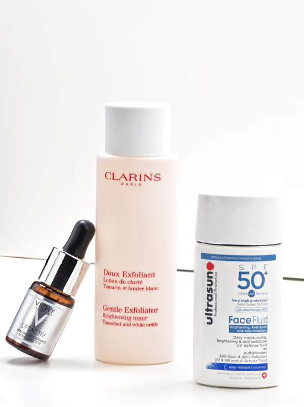 Vichy-LiftActiv-Vitamin-C-Brightening-Skin-Corrector-,-Clarins-Gentle-Exfoliator-Brightening-Toner-and-Ultrasun-Brightening,-Anti-Spot-and-Anti-Pollution-Face-Fluid-SPF50+