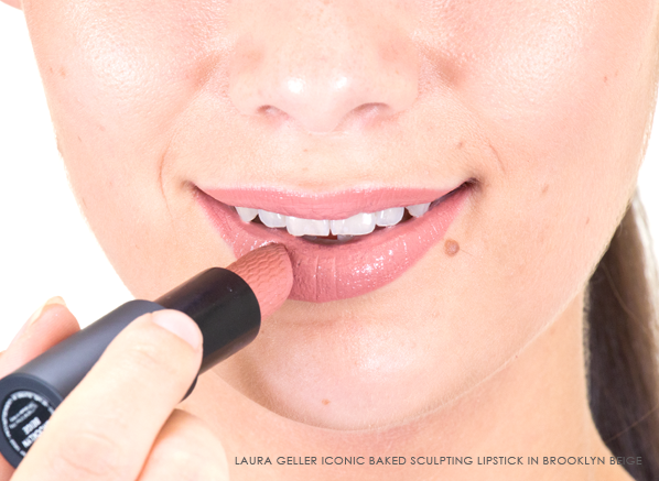 Laura Geller Iconic Baked Sculpting Lipstick in Brooklyn Beige on Lips