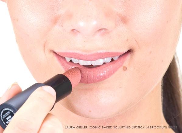 Laura Geller Iconic Baked Sculpting Lipstick in Brooklyn Beige on Lips