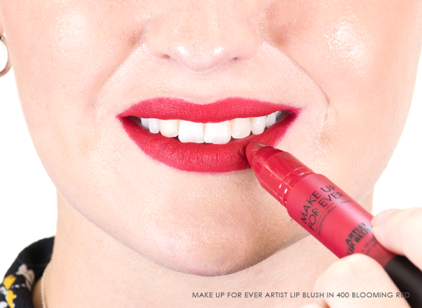 MAKE UP FOR EVER Artist Lip Blush in 400 Blooming Red on Lips