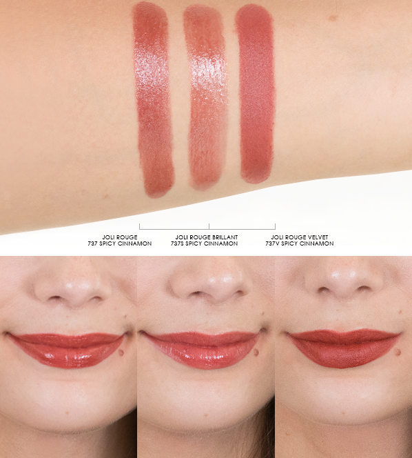 Clarins-Joli-Rouge-Lipstick-Arm-And-Lip-Swatches-in-737-Spicy-Cinnamon-Joli-Rouge-Brillant-737S-Joli-Rouge-Velvet-737V-Spicy-Cinnamon