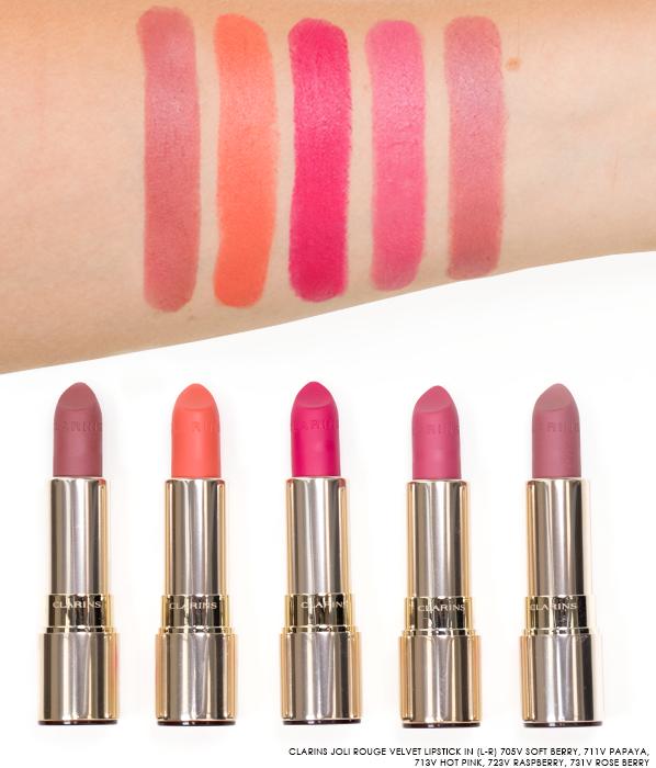 Clarins-Joli-Rouge-Velvet-Lipstick-Swatches-in-705V-Soft-Berry-711V-Papaya-713V-Hot-Pink-723V-Raspberry-731V-Rose-Berry-Final