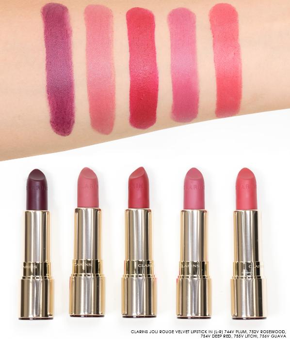 Clarins-Joli-Rouge-Velvet-Lipstick-Swatches-in-744V-Plum-752V-Rosewood-754V-Deep-Red-755V-Litchi-756V-Guava