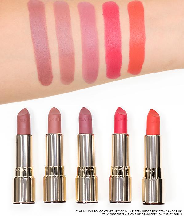 Clarins-Joli-Rouge-Velvet-Lipstick-Swatches-in-757V-Nude-Brick-758V-Sandy-Pink-759V-Woodberry-760V-Pink-Cranberry-761V-Spicy-Chilli