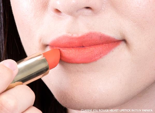 Emma Wears Clarins Joli Velvet Lipstick in 711V Papaya