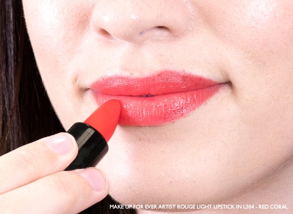 Emma-Wears-MAKE-UP-FOR-EVER-Artist-Rouge-Light-Lipstick-in-L304-Red-Coral