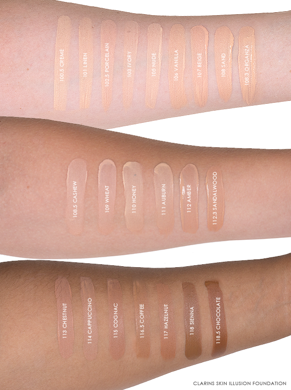 Clarins Skin Illusion Foundation Swatches and Review