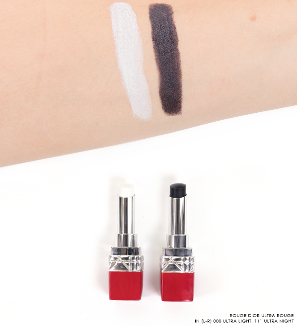 Dior Rouge Dior Ultra Rouge Lipstick Swatches in 000 Ultra Light and 111 Ultra Night