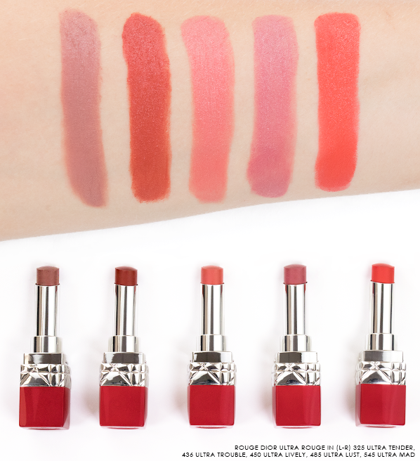 Rouge-Dior-Ultra-Rouge-Lipstick-Swatchs-in-325-Ultra-Tender-436-Ultra-Trouble-450-Ultra-Lively-485-Ultra-Lust-545-Ultra-Mad