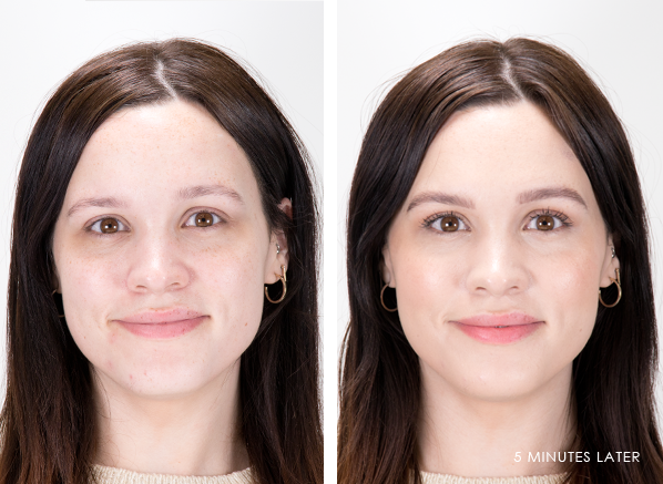 Before and After Clarins Skin Illusion Foundation in 106 Vanilla