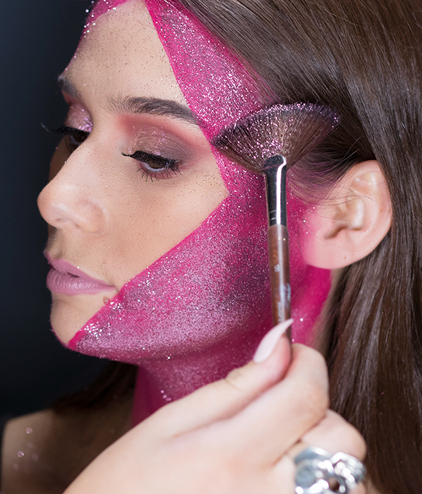 MAKE UP FOR EVER Star Lit Glitter S806 Champagne Rose - Glitter Mask Tutorial - Halloween Makeup