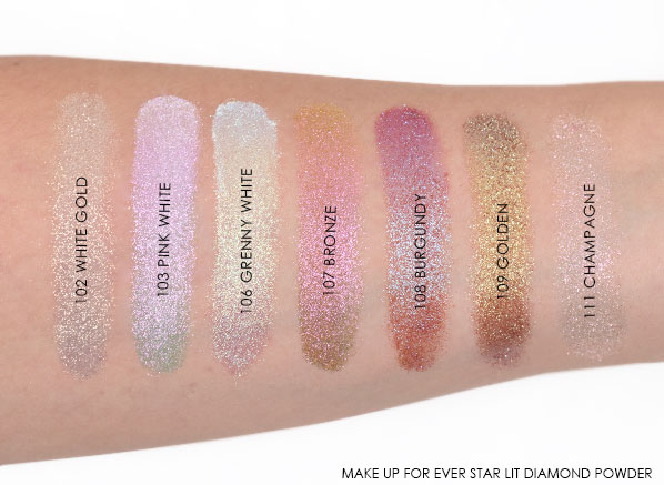 MAKE UP FOR EVER Star Lit Diamond Powder Swatches