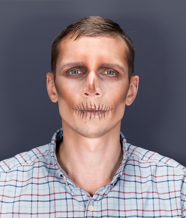 Easy skull Halloween makeup for men - finished look