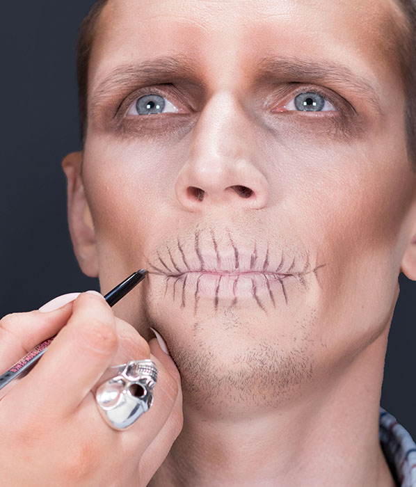 Easy skull Halloween makeup for men - Benefit goof proof