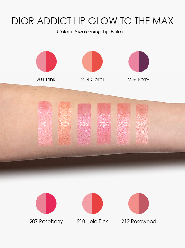 DIOR Addict Lip Glow To The Max Swatches in 201 Pink, 204 Coral, 206 Berry, 207 Raspberry, 210 Holo Pink, 212 Rosewood