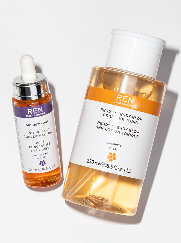 REN Ready Steady Glow Daily AHA Tonic 250ml & REN Bio-Retinoid Anti-Wrinkle Concentrate Oil