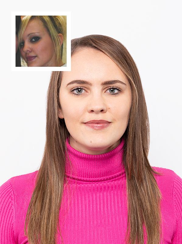 Escentual Merchandiser, Jade's eyebrows then and now